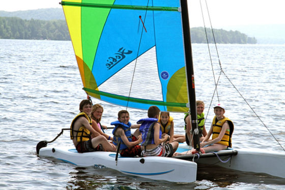 Campers out sailing at Arrowhead Camp.