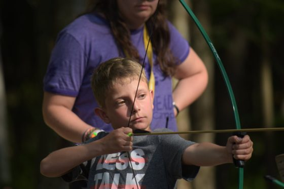A camper practising archery at Arrowhead Camp.