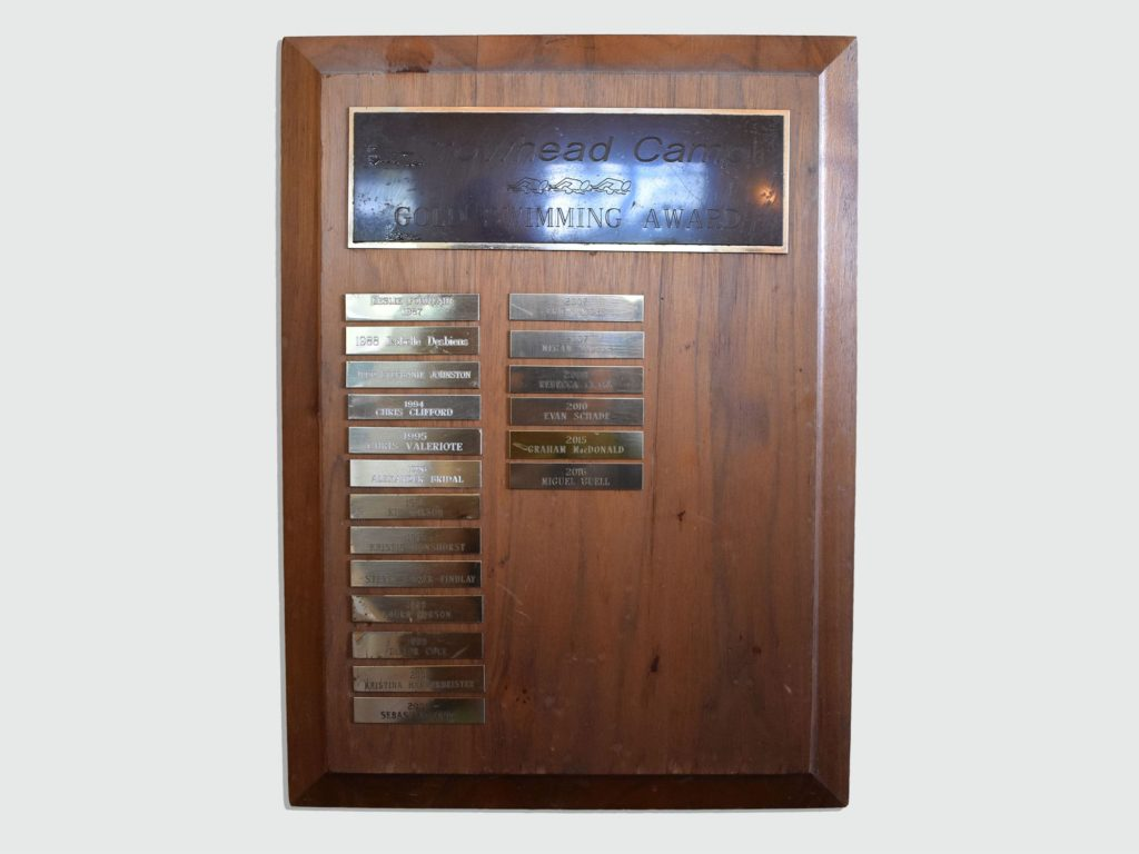 A photo of the Golden Swimming Award at Arrowhead Camp.