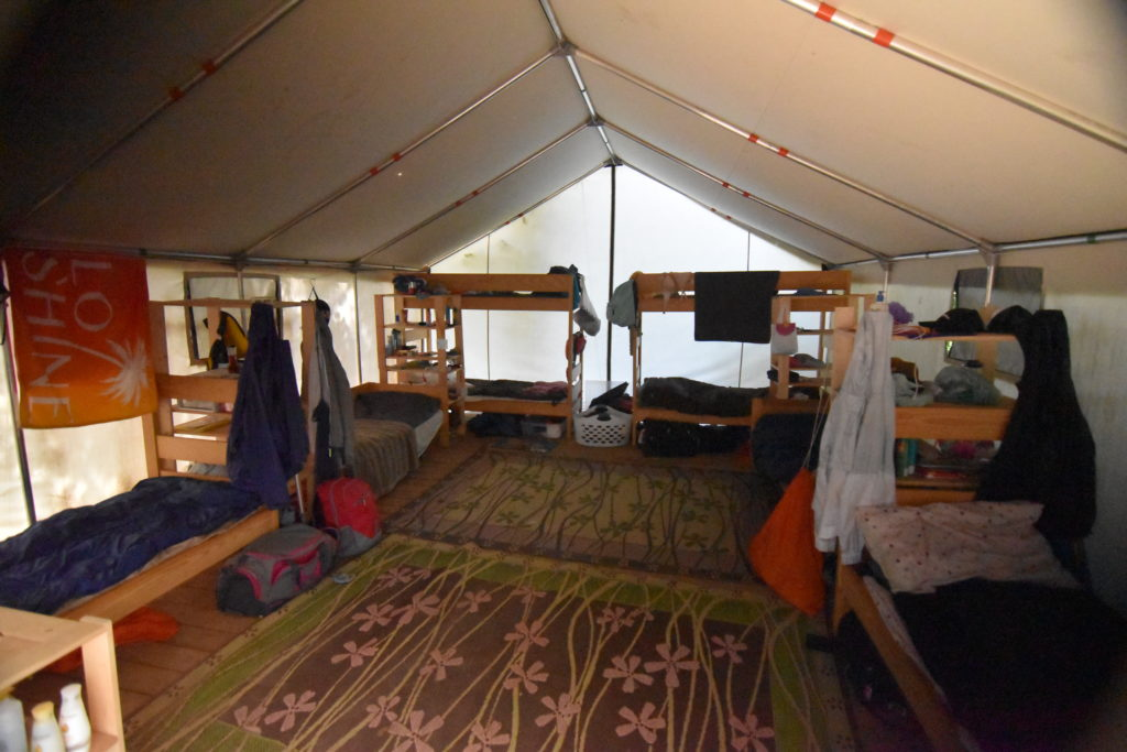 Inside the LIT Village tent at Arrowhead Camp.
